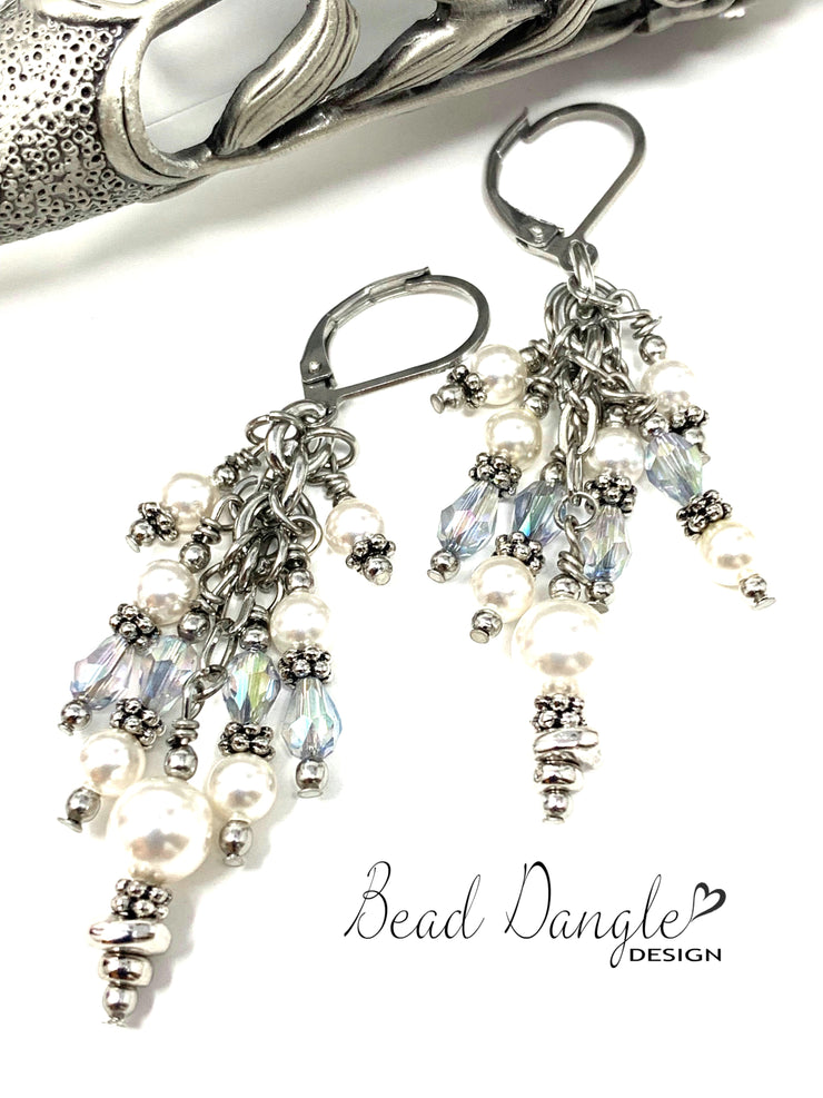 Faceted Crystal and Swarovski Pearl Beaded Dangle Earrings #1035E - Bead Dangle Design