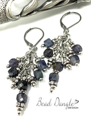 Faceted Deep Purple Iolite and Crystal Beaded Dangle Earrings #1036E - Bead Dangle Design