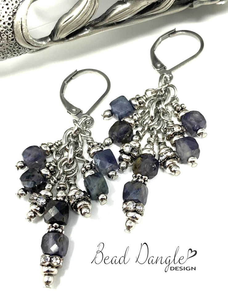 Faceted Deep Purple Iolite and Crystal Beaded Dangle Earrings #1036E