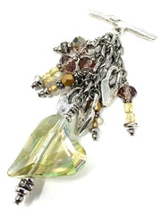 Faceted Crystal Tilted Heart Beaded Dangle Pendant #2339D