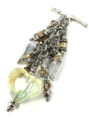 Faceted Crystal Heart Beaded Dangle Pendant #2338D