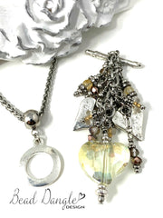 Faceted Crystal Heart Beaded Dangle Pendant #2338D - Bead Dangle Design