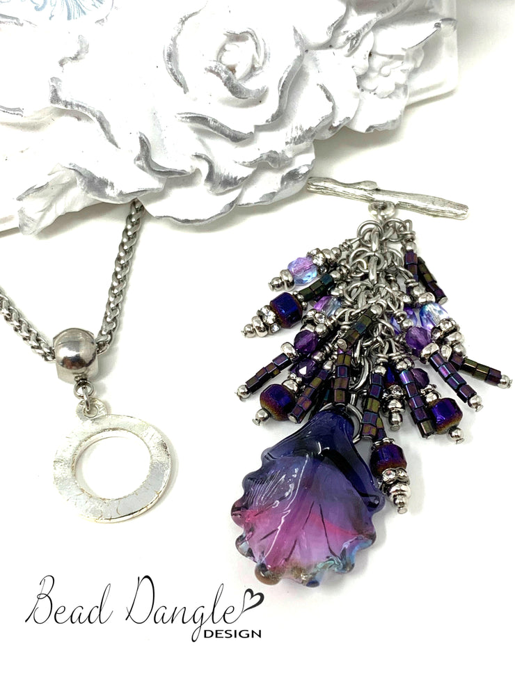 Lampwork Glass Leaf Seed Bead and Crystal Beaded Dangle Pendant #2341D