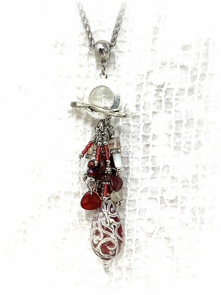 Lampwork Glass Frosted Swirl Beaded Dangle Pendant #2342D - Bead Dangle Design