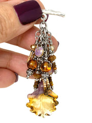 Lampwork Glass Leaf Beaded Dangle Pendant #2344D - Bead Dangle Design