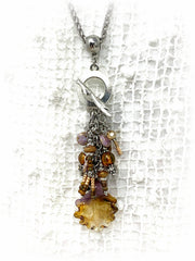 Lampwork Glass Leaf Beaded Dangle Pendant #2344D