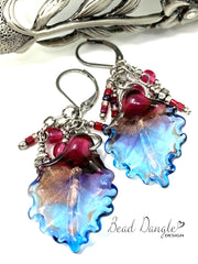Golden Shimmer Lampwork Glass Leaf Beaded Dangle Lever Back Earrings #1037E