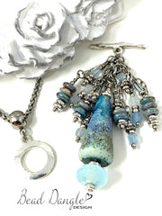 Lampwork Glass and Faceted Aquamarine Beaded Dangle Pendant #2348D - Bead Dangle Design