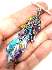 Blue and Purple Painted Enamel Seed Bead and Amethyst Beaded Dangle Pendant #2351D