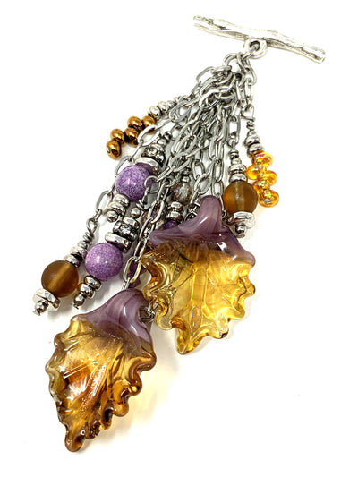 Dual Golden Leaf and Swarovski Crystal Beaded Dangle Pendant #2353D - Bead Dangle Design