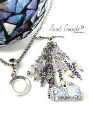 Lavender Lace Chandelier Beaded Fluorite Dangle Pendant #2356D - Bead Dangle Design