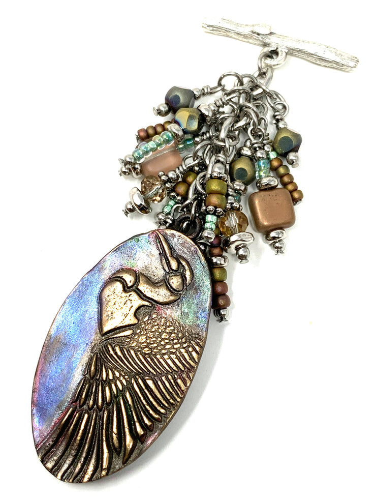 Oval Crane Bird Iridescent Beaded Dangle Pendant #2358D - Bead Dangle Design
