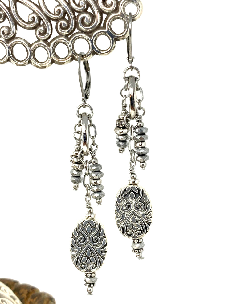 Gray Faceted Hematite Filigree Beaded Dangle Lever Back Earrings #1041E - Bead Dangle Design