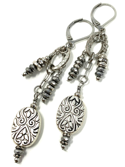 Gray Faceted Hematite Filigree Beaded Dangle Lever Back Earrings #1041E
