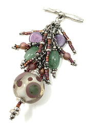 Lampwork Glass Polka Dot Beaded Cluster Pendant #2362D - Bead Dangle Design