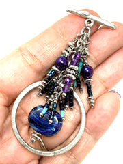 Boho Chic Lampwork Glass Chain Beaded Pendant #2363D - Bead Dangle Design