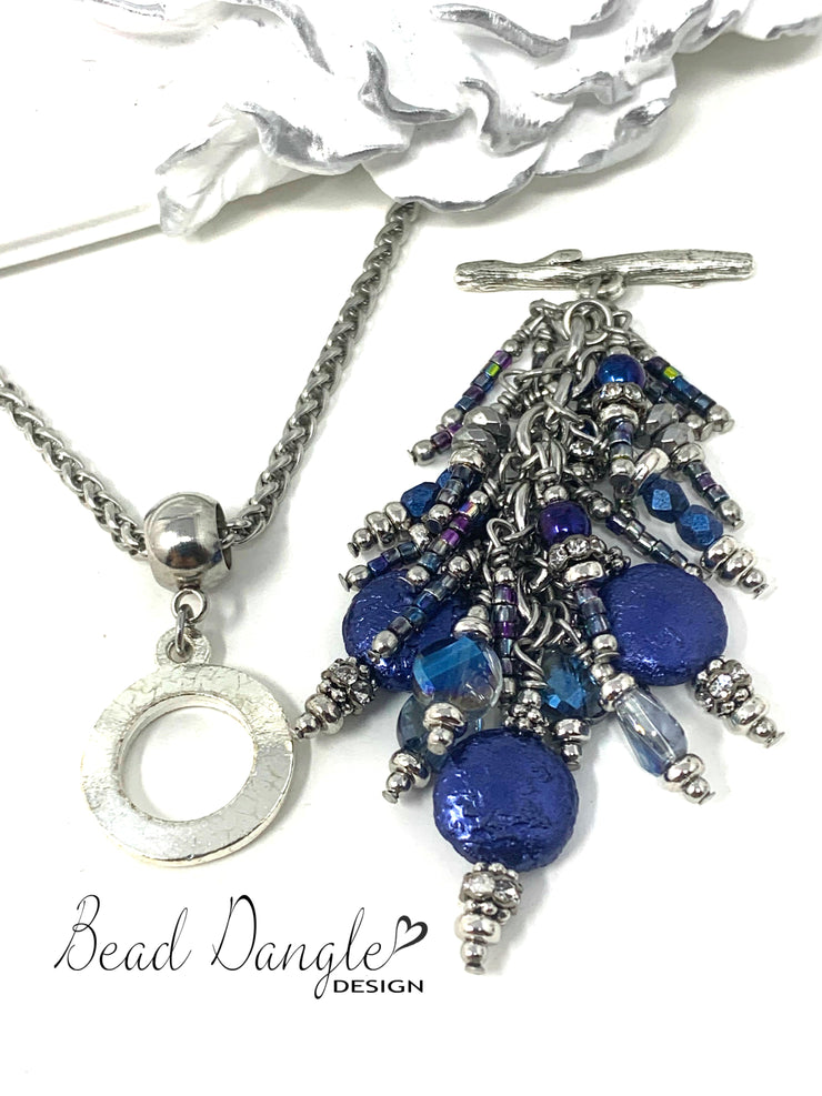 Deep Blue Coin Pearl Cluster Beaded Pendant #2366D - Bead Dangle Design