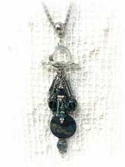 Handmade Lampwork Glass and Czech Glass Cluster Beaded Pendant #2367D - Bead Dangle Design