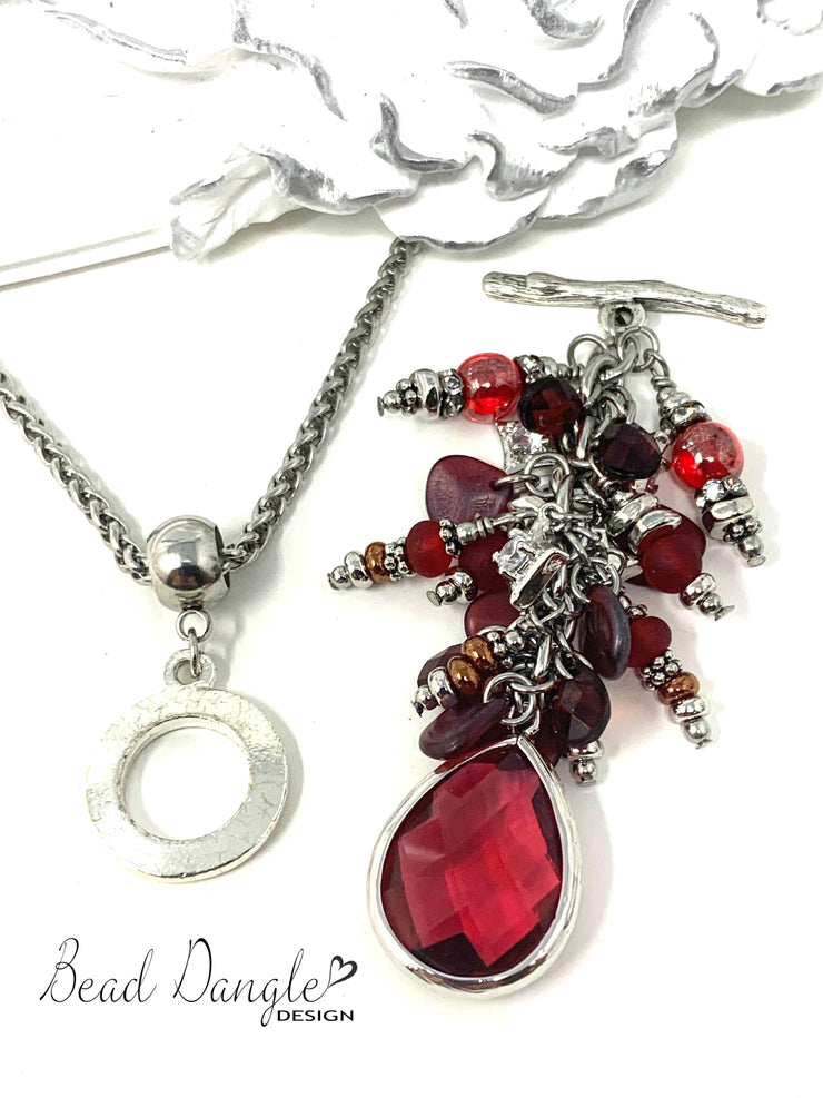 Ruby Red Faceted Crystal Cluster Beaded Pendant #2369D - Bead Dangle Design