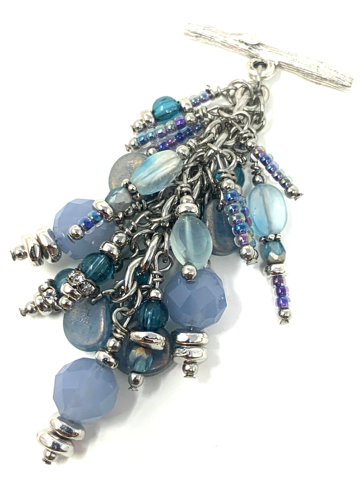 Periwinkle Blue Faceted Czech Glass and Moonstone Beaded Cluster Pendant #2373D - Bead Dangle Design