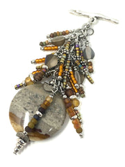 Golden Sandstone Agate and Seed Bead Cluster Pendant #2374D - Bead Dangle Design