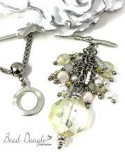 Winter White Shimmer Crystal Beaded Cluster Pendant #2378D - Bead Dangle Design