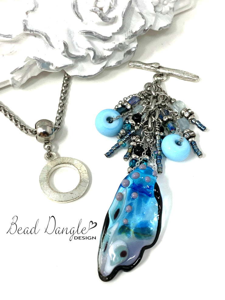 Butterfly Wing Beaded Cluster Pendant #2386D - Bead Dangle Design