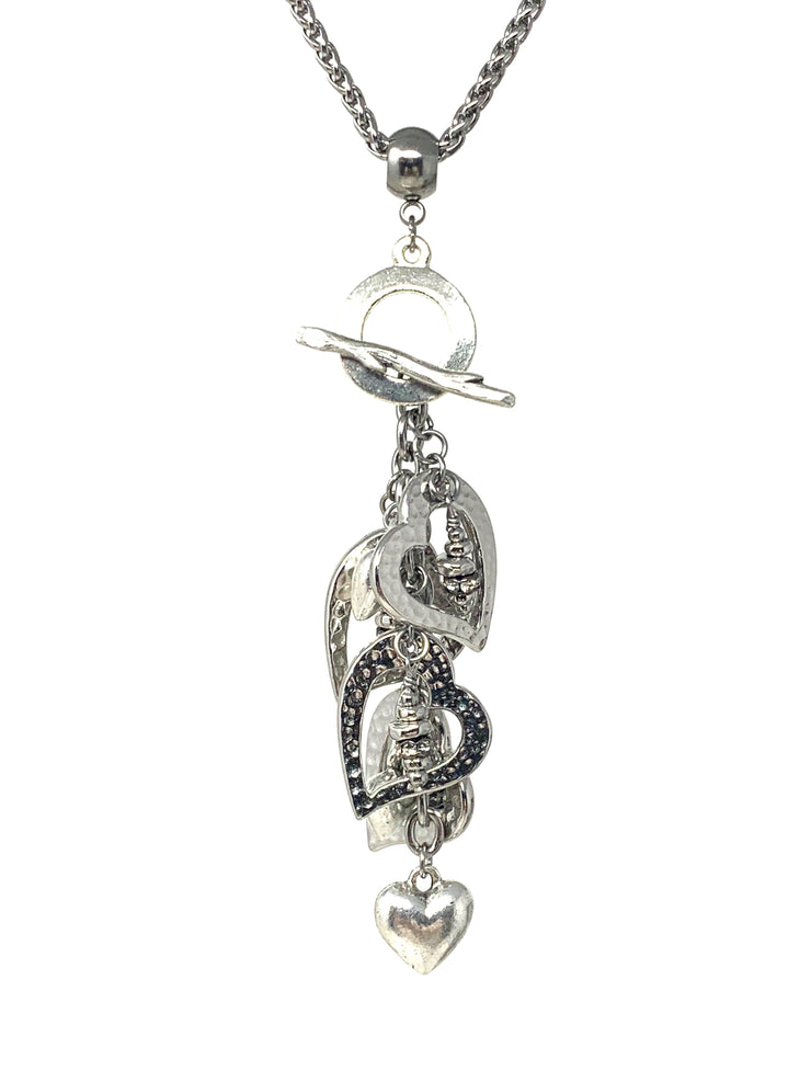 Hammered Pewter Triple Heart Beaded Cluster Dangle Pendant #2388D - Bead Dangle Design