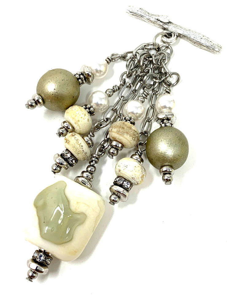 Lampwork Glass and Swarovski Pearl Beaded Cluster Dangle Pendant #2392D
