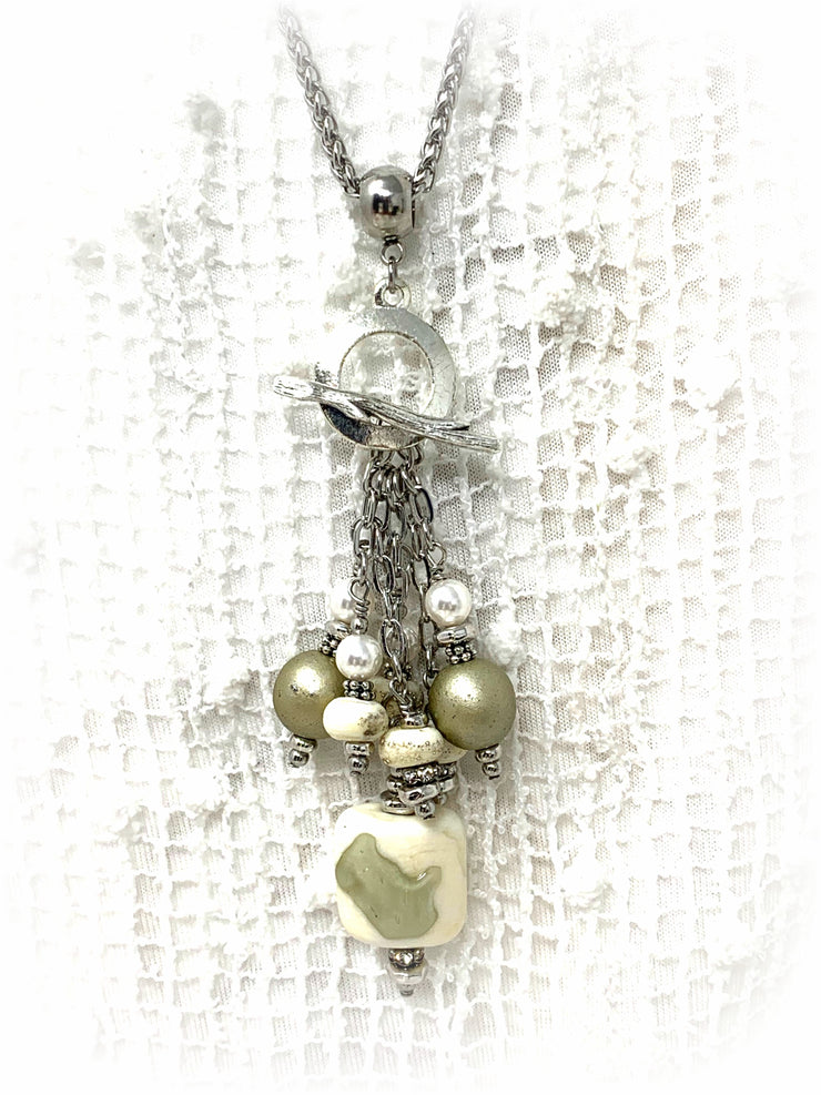 Lampwork Glass and Swarovski Pearl Beaded Cluster Dangle Pendant #2392D - Bead Dangle Design