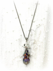 Moonstone and Raku Toggle Charm Beaded Pendant Necklace #1594D, Pendant, Bead Dangle Design - Bead Dangle Design