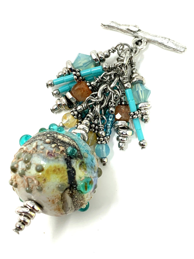 Beautiful Painted Lampwork Glass Beaded Cluster Dangle Pendant #2396D