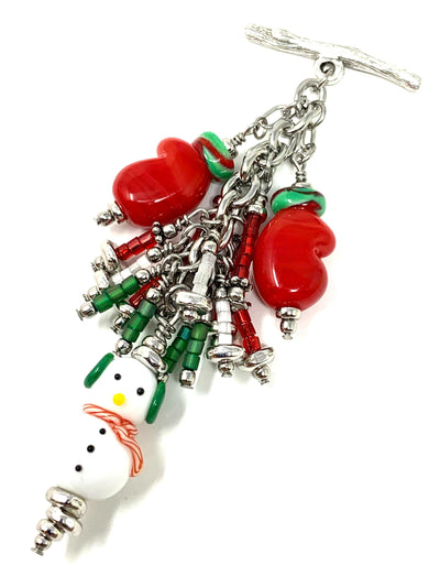 Christmas Snowman and Mitten Seed Bead Cluster Dangle Pendant #2393D