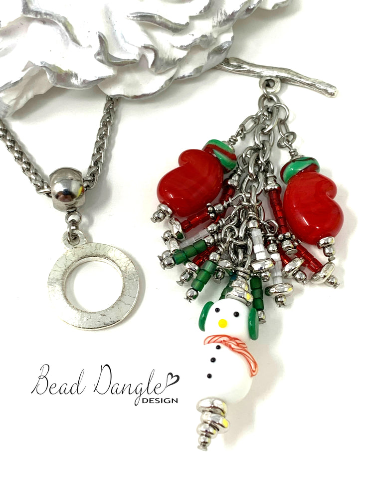 Christmas Snowman and Mitten Seed Bead Cluster Dangle Pendant #2393D - Bead Dangle Design
