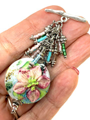 Handmade Painted Lampwork Glass Beaded Cluster Dangle Pendant #2400D