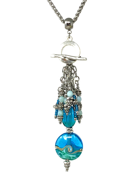 Chain Tassel Toggle Lampwork Glass Beaded Pendant Necklace #1597D