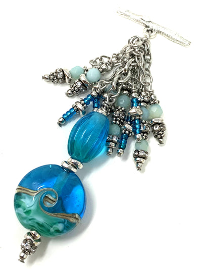 Turquoise Blue Lampwork Glass Beaded Cluster Dangle Pendant #2402D