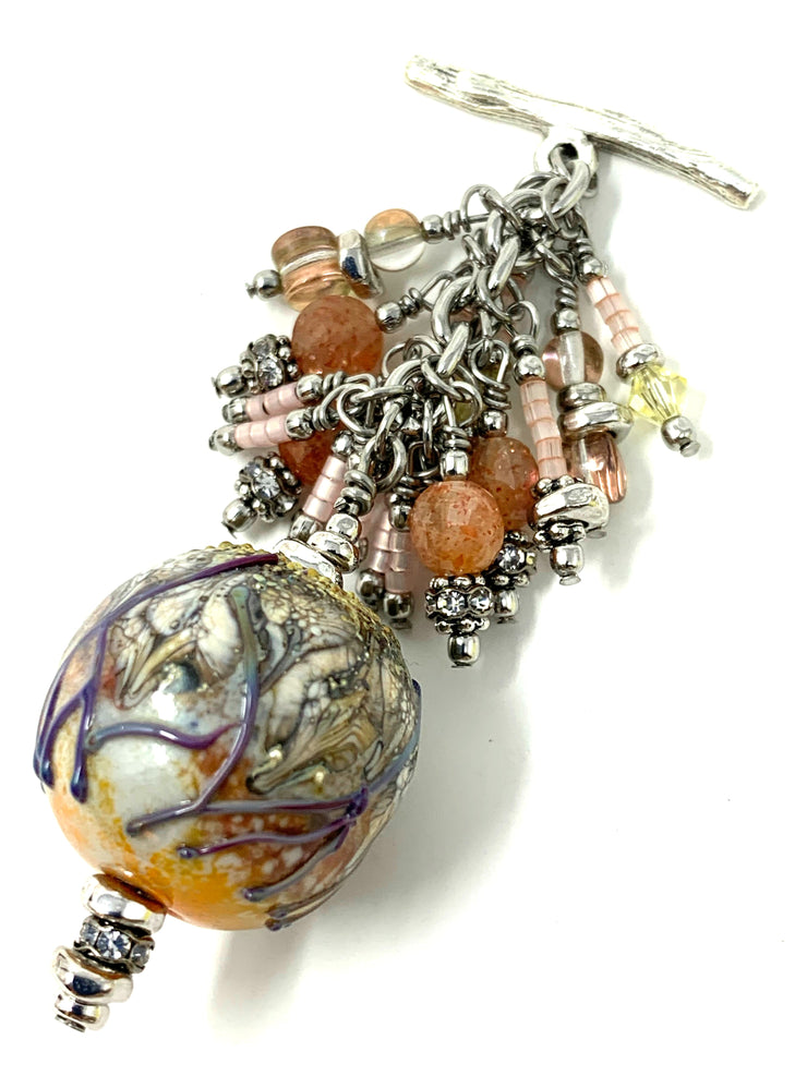 Handmade Lampwork Glass Seed Bead Cluster Dangle Pendant #2404D