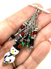 Lampwork Glass Snowman Bead Cluster Dangle Pendant #2405D