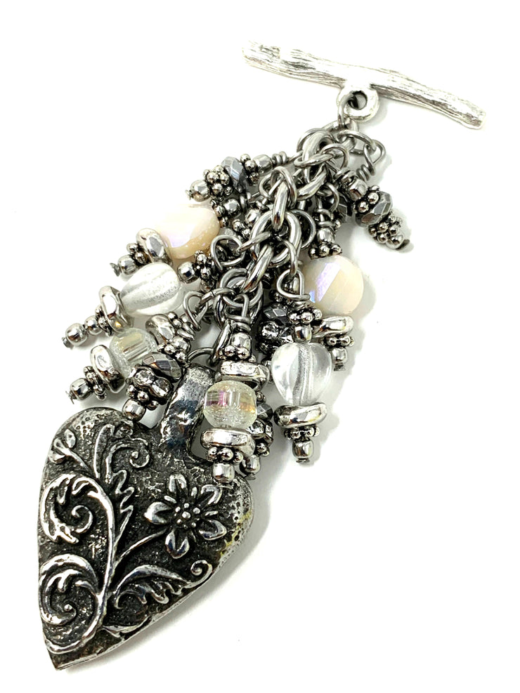 Solid Pewter Floral Heart Beaded Cluster Dangle Pendant #2406D - Bead Dangle Design