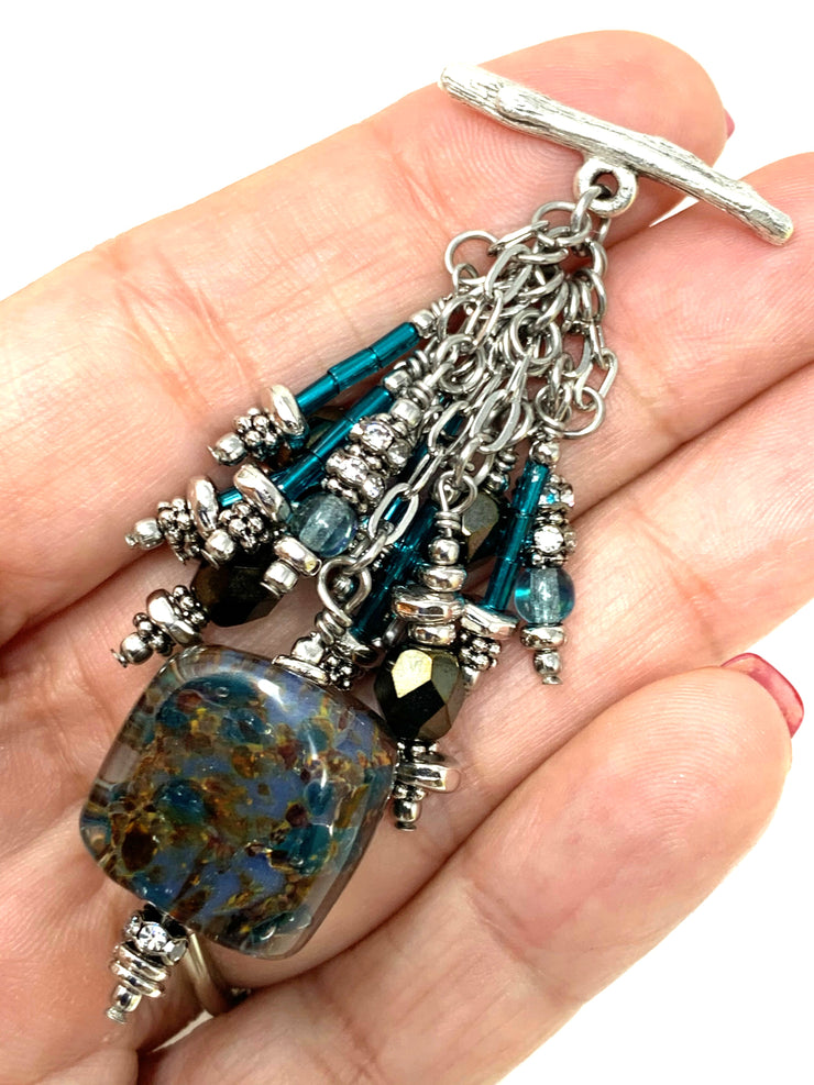 Lampwork Glass and Bugle Bead Cluster Dangle Pendant #2407D