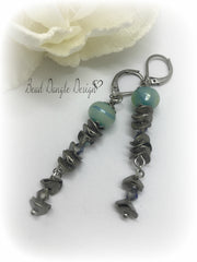 Lampwork Glass and Swarovski Crystal Leverback Long Beaded Earrings #823E,- Bead Dangle Design