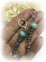 Lampwork Glass and Swarovski Crystal Leverback Long Beaded Earrings #823E - Bead Dangle Design