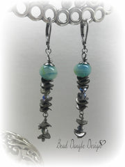 Lampwork Glass and Swarovski Crystal Leverback Long Beaded Earrings #823E, Earrings, Bead Dangle Design - Bead Dangle Design