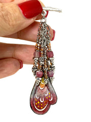 Butterfly Wing Painted Enamel Seed Bead Cluster Dangle Pendant #2411D