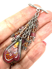 Patina Leaf and Feather Toggle Beaded Pendant Necklace #1599D, Pendant, Bead Dangle Design - Bead Dangle Design