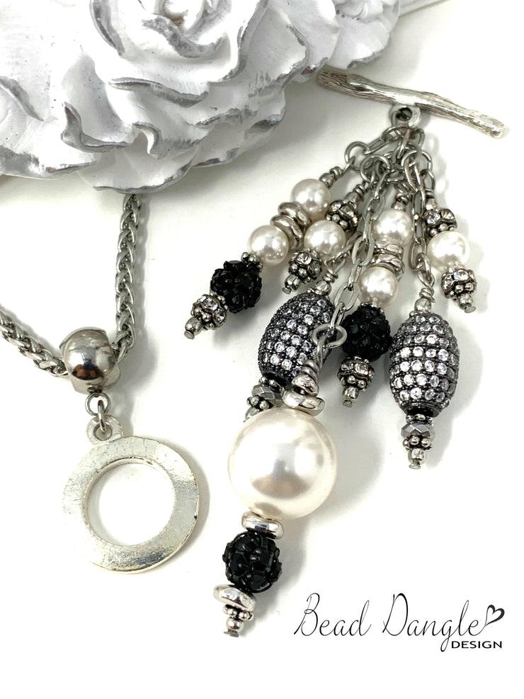 White Swarovski Pearl and Pave' Crystal Beaded Cluster Dangle Pendant #2409D - Bead Dangle Design