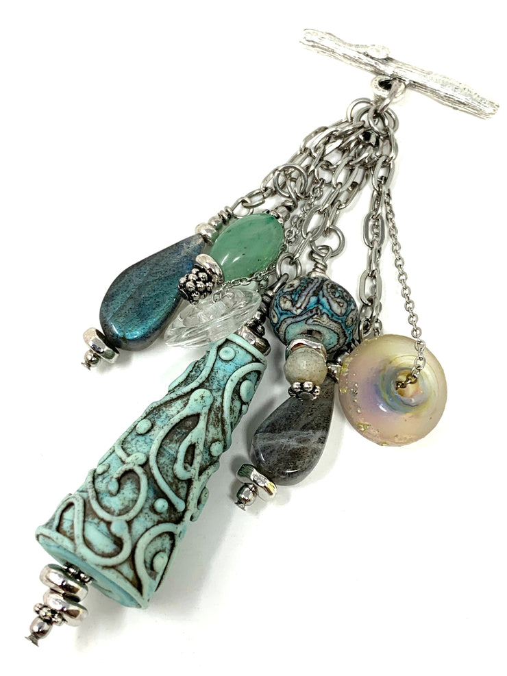 Labradorite and Lampwork Glass Swirl Beaded Cluster Dangle Pendant #2414D