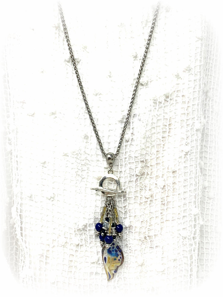 Handmade Butterfly Wing and Swarovski Pearl Beaded Cluster Dangle Pendant #2415D - Bead Dangle Design