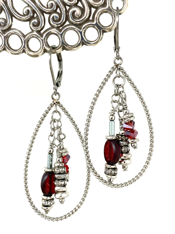 Christmas Red Holiday Beaded Dangle Lever Back Earrings #1042E - Bead Dangle Design